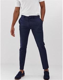 Темно синие строгие облегающие брюки River island