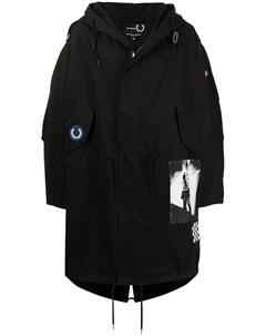 Пальто с капюшоном и нашивкой Raf simons x fred perry