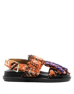 Твидовые сандалии с бахромой Marni