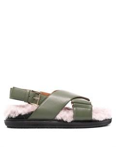 Пушистые сандалии с перекрестными ремешками Marni