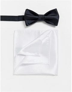 Черный галстук бабочка и белый платок для нагрудного кармана Мульти Devils advocate