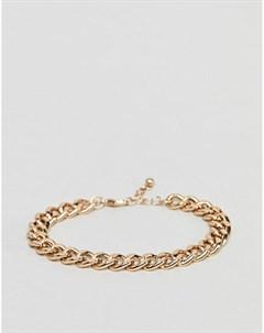 Золотистый браслет цепочка Золотой Asos design
