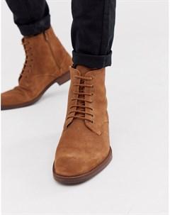Светло коричневые замшевые ботинки на шнуровке Zign