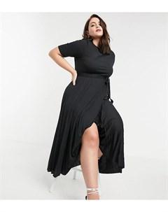 Черное платье миди с поясом и плиссированной юбкой ASOS DESIGN Curve Asos curve