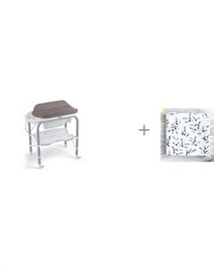 Пеленальный столик bio с ванночкой 246 и муслиновая пеленка Mjolk Брусника 80x80 см Cam