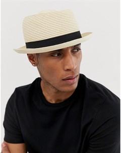 Бежевая соломенная шляпа Бежевый Asos design