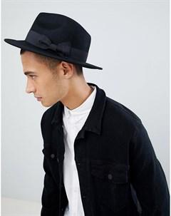 Черная фетровая шляпа Черный Asos design