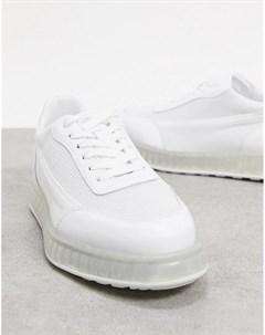 Белые низкие кроссовки с прозрачной подошвой Joshua sanders