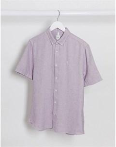 Сиреневая фактурная рубашка классического кроя с короткими рукавами Maison Riviera River island