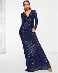 Темно синее платье макси с пайетками длинными рукавами и юбкой годе Goddiva