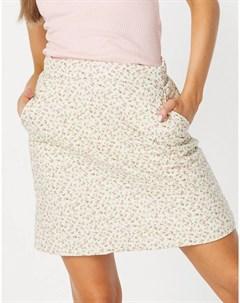 Стеганая мини юбка с цветочным принтом в пастельных оттенках от комплекта Neon rose