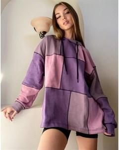 Oversized худи в стиле пэчворк пастельных оттенков от комплекта The ragged priest