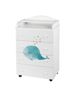 Комод Mini пеленальный Cute Whale 4 ящика Forest kids