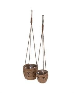 Кашпо натуральное подвесное коричневый большое 22x22x18 см Koopman garden