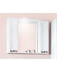 Зеркало шкаф Адель 85 белый глянец с двумя шкафчиками Бриклаер
