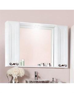 Зеркало шкаф Адель 105 белый глянец с двумя шкафчиками Бриклаер