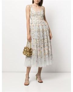 Расклешенное платье миди с цветочным принтом Needle & thread