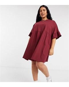 Темно бордовое свободное платье с присборенной юбкой и рукавами оборками ASOS DESIGN Curve Asos curve