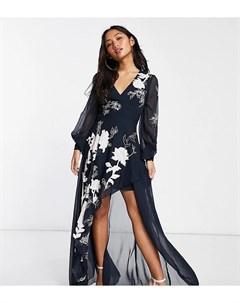Темно синее платье макси с запахом и атласными цветочными аппликациями ASOS DESIGN Petite Asos petite