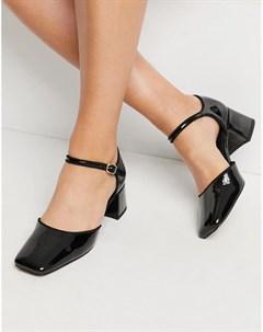 Черные туфли на среднем каблуке с ремешком на щиколотке и квадратным носком Spirit Asos design