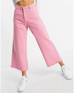 Свободные джинсы с широкими штанинами с необработанными краями из денима ярко розового цвета от комп Neon rose