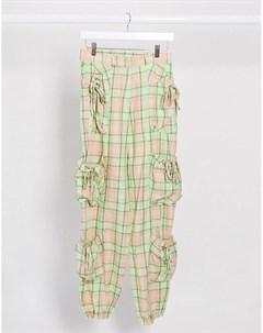 Свободные брюки в клетку с карманами карго The ragged priest