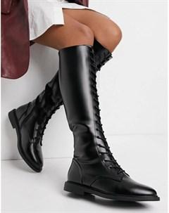 Черные ботильоны до колена в строгом стиле на шнуровке Cassie Asos design