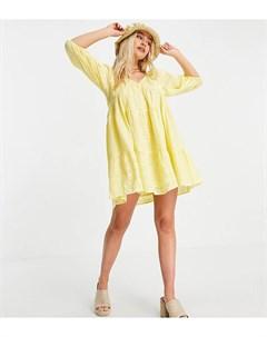 Желтое платье мини в стиле бэбидолл с ярусными оборками и вышивкой ришелье ASOS DESIGN Petite Asos petite