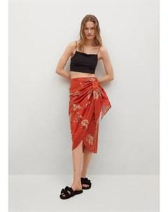 Принтованная юбка с запaхом Fun Mango