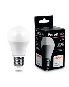 Светодиодная лампа E27 7W 2700К теплый A55 LB 1007 Feron