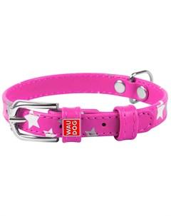 Ошейник кожаный для собак Звездочка розовый 12 мм 19 25 см WauDog Glamour 1 шт Collar