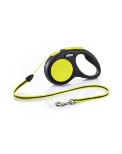 New Neon S Поводок рулетка для собак черный неон трос Flexi
