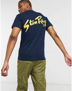 Темно синяя футболка с принтом на спине Stan ray®