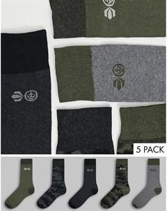 Набор из 5 пар серых носков Mossdale Crosshatch