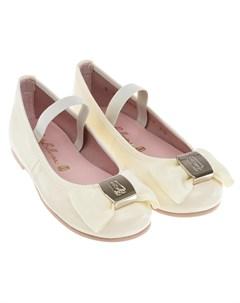Кремовые туфли с бантом детские Pretty ballerinas