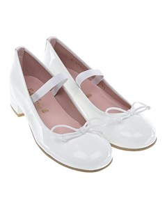 Белые лакированные туфли на каблуке детские Pretty ballerinas