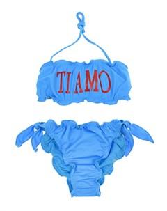 Голубой купальник с надписью Ti amo детский Alberta ferretti