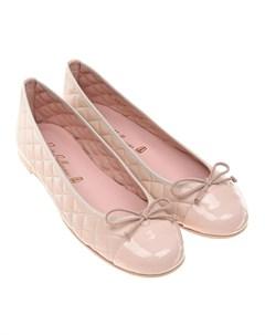 Стеганые балетки пудрового цвета детские Pretty ballerinas