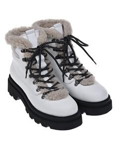 Белые ботинки подкладкой из эко меха Voile blanche