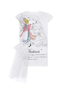 Белая футболка с принтом Алиса в Стране чудес Scrambled ego