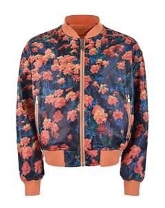Куртка бомбер из эко кожи с цветочным принтом детская Freedomday