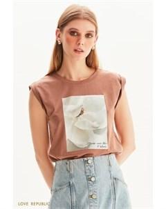 Oversize футболка без рукавов с цветочным принтом Love republic