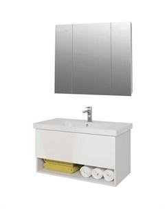 Мебель для ванной Perfecto 90 с ящиком белый глянец Dreja