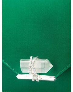 Атласная сумка на плечо с криталлом Marchesa