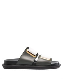 Двухцветные сандалии на липучках Marni