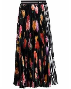 Плиссированная юбка миди с графичным принтом Msgm