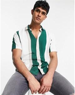 Рубашка в полоску зеленого цвета с короткими рукавами River island