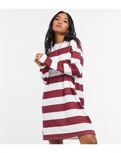 Платье лонгслив в бордовую и белую полоску ASOS DESIGN Petite Asos petite