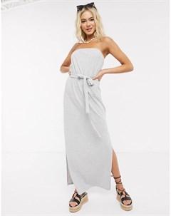 Серое меланжевое платье бандо макси с поясом Asos design