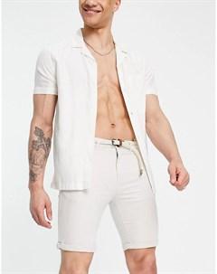 Свеило бежевые шорты чиносы с ремнем Tom tailor